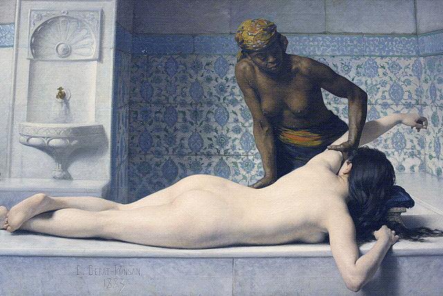 Le massage: scène au Hammam by Edouard Debat-Ponsan (1883). Wikipedia.