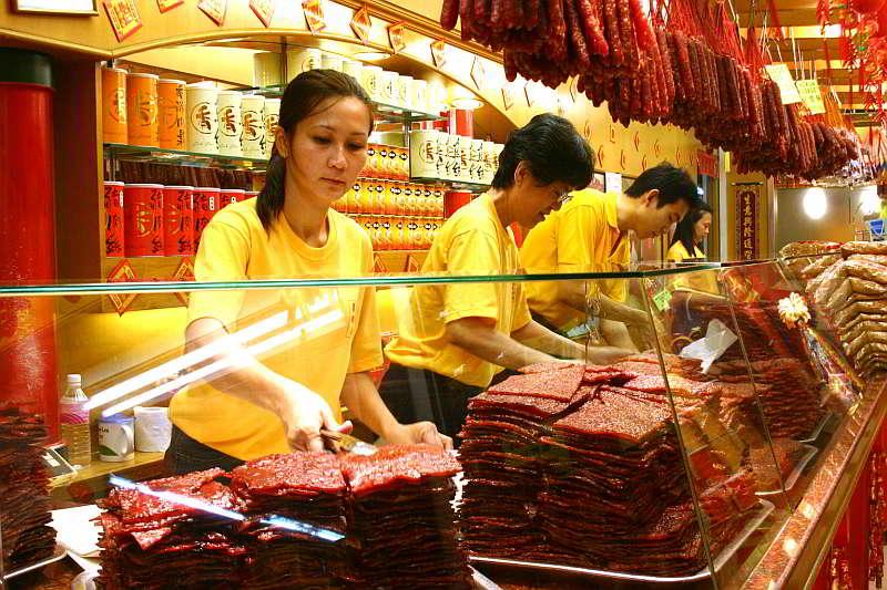 Köstliches Trockenfleisch in Singapur. Was will man mehr?